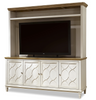 French Modern Wood 4 Door TV Media Console with Hutch, White