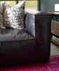 Nolita Reverse Stitch Saddle Black Leather Sofa