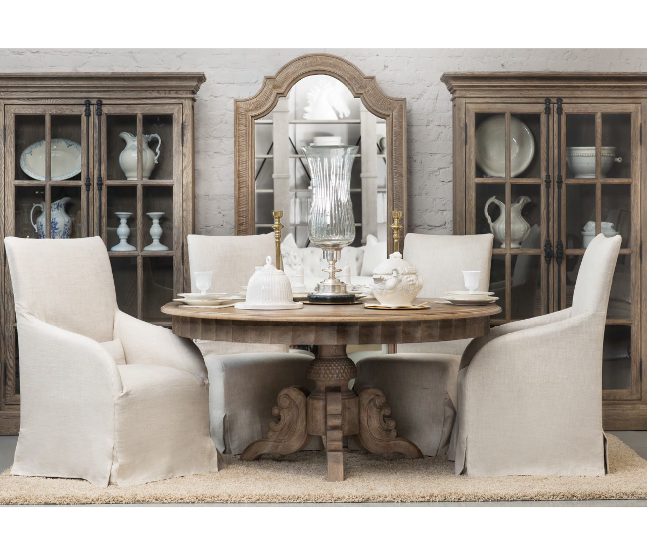 Parisian Vintage Oak Round Dining Room Table