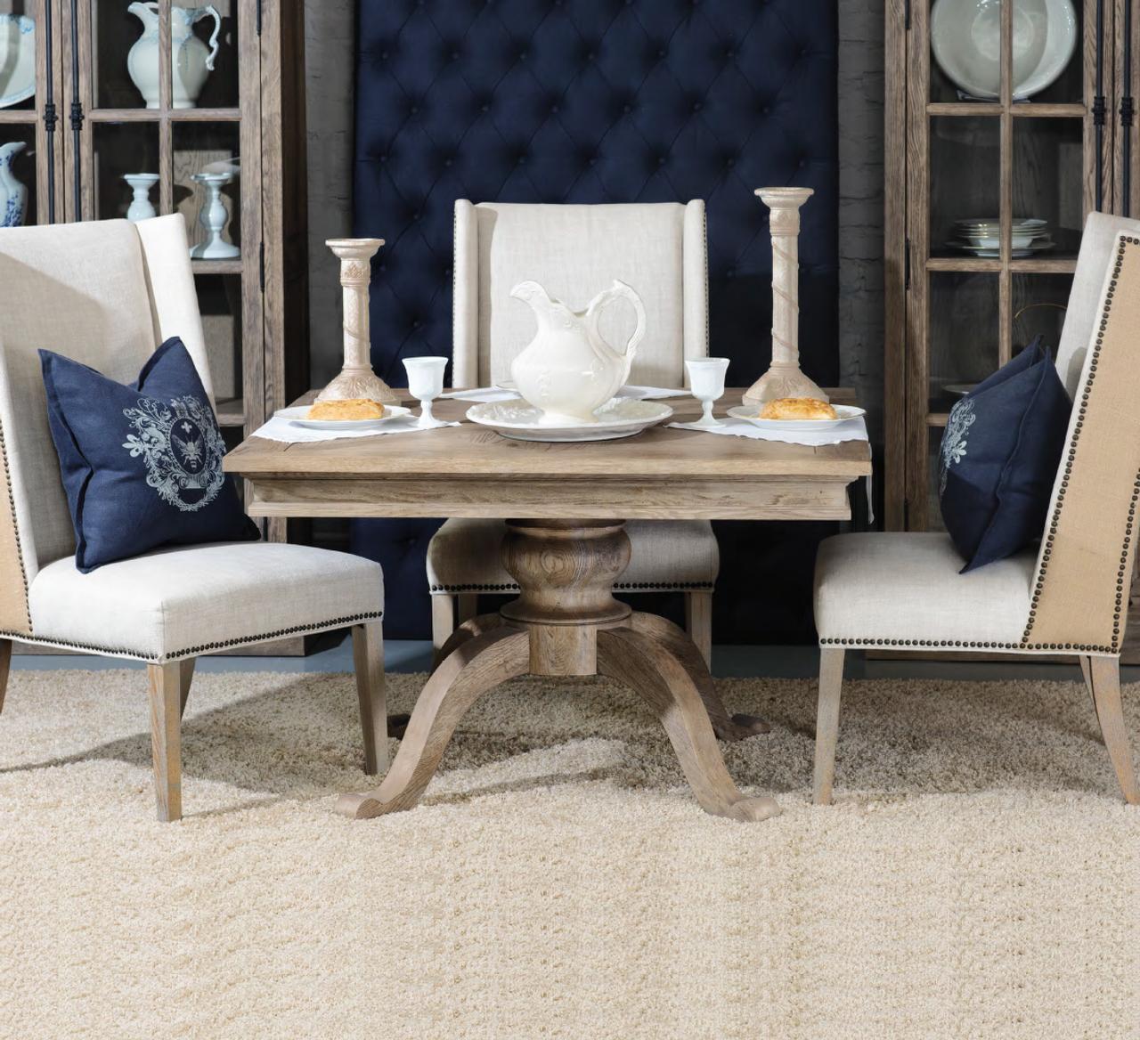 Geneva Oak Wood Square Pedestal Dining Room Table