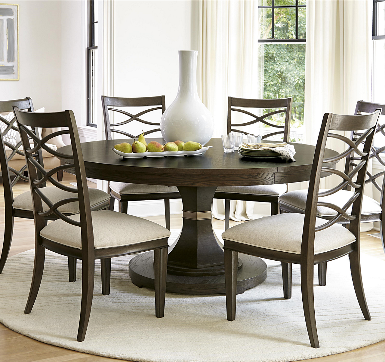 California Rustic Oak Expandable Round Dining Table 64""