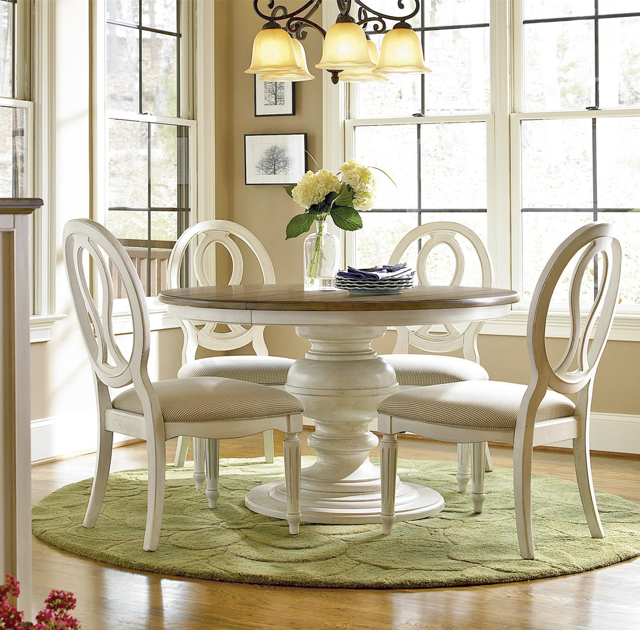 Country Chic 5 Piece Round White Dining Table Set