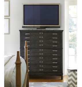 French Modern Dark Wood 5 Drawers Bedroom Media Chest