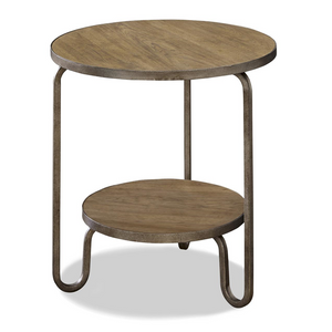 French Modern Industrial Wood + Metal Round End Table