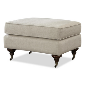 Churchill English Rolled Arm Linen Upholstered Ottoman
