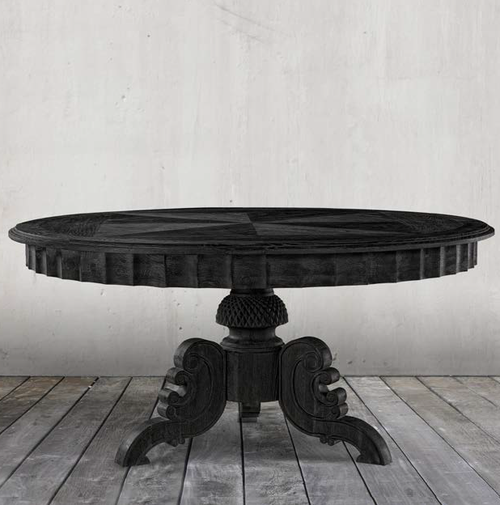 Parisian Antique Black Round Pedestal Dining Table 63 Zin Home