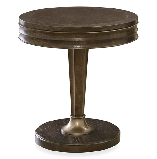 California Rustic Oak 1 Drawer Round End Tables