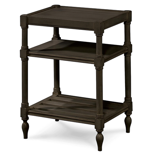 Country-Chic Maple Wood Black Side Table With Shelf
