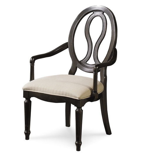 Country-Chic Maple Wood Black Pierced Back Arm Chair, Upholstered