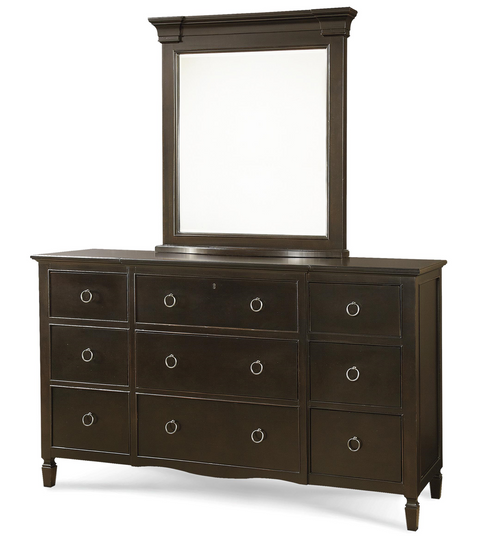 Country-Chic Maple Wood 9 Drawer Black Dresser with Mirror