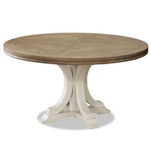 French Modern White Wood Pedestal Round Dining Table