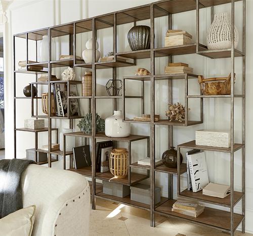 ... French Modern Industrial Wood + Metal Geometric Livingroom Bookcase  Etagere ... - French Modern Industrial Wood + Metal Bookcase Etagere Zin Home