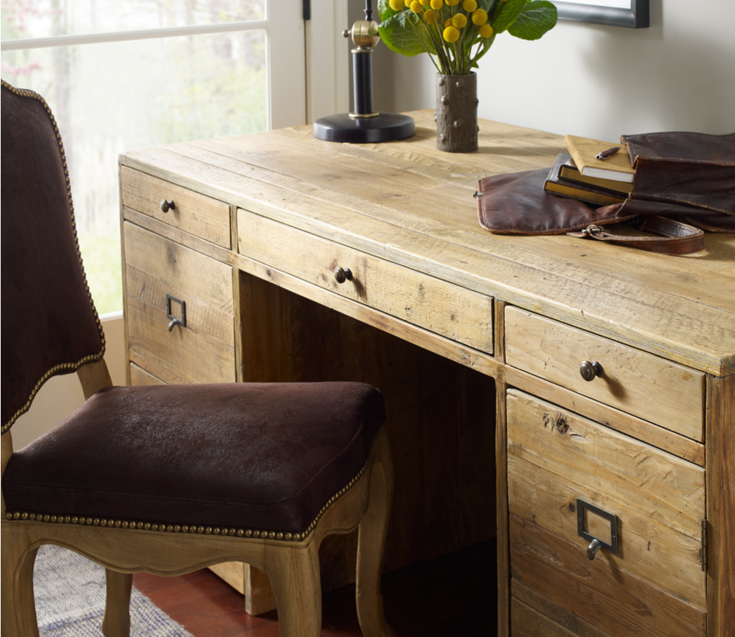 Image 1 ... - Hughes Executive Salvaged Wood Desk With File Cabinet Zin Home