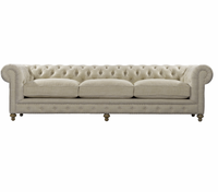 Chesterfield Beige Tufted Linen Upholstered Sofa 118