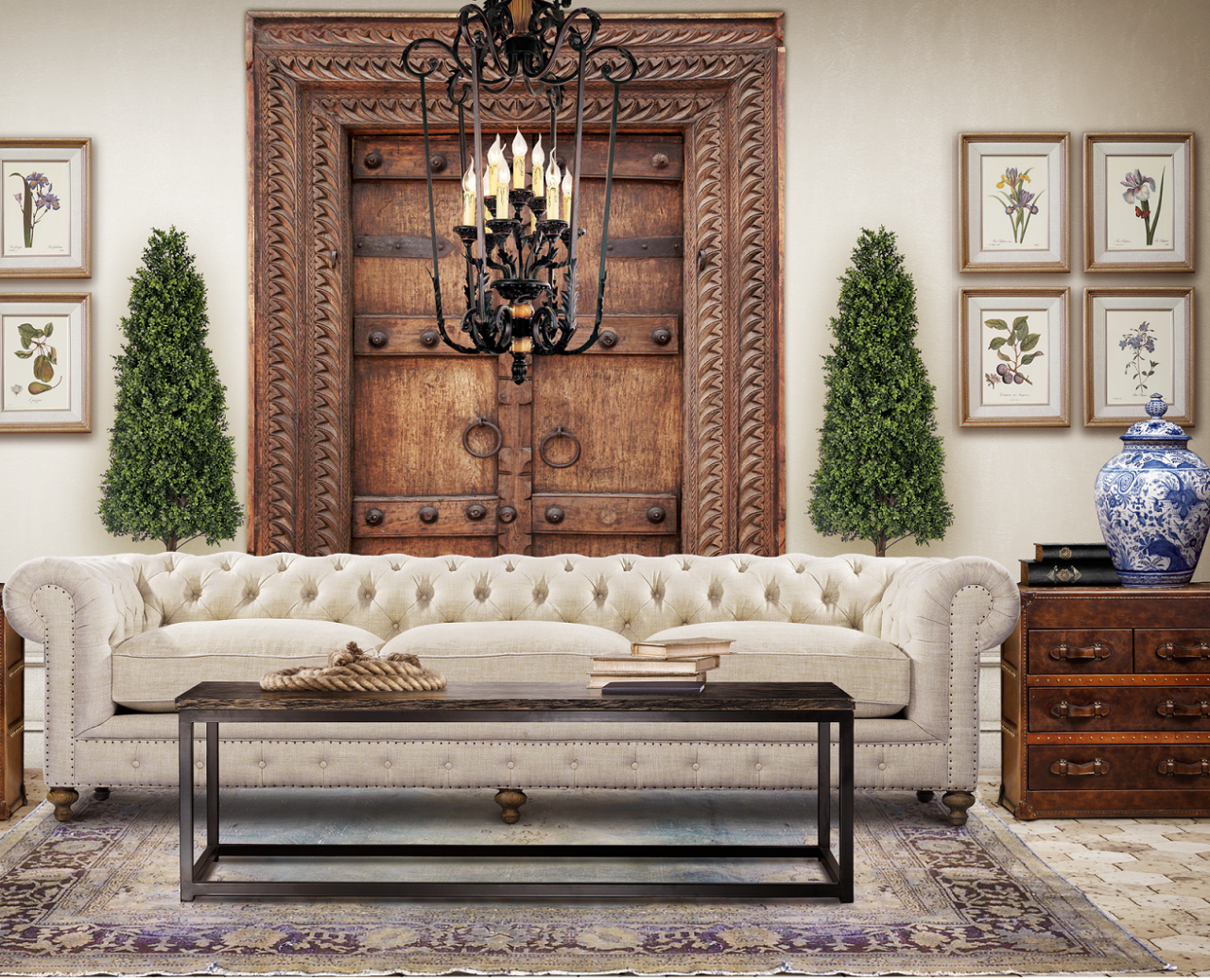 40 Rustic Living Room Ideas To Fashion Your Revamp Around: Chesterfield Cigar Club Tufted Linen Upholstered Sofa 118