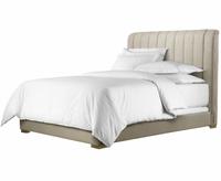 York Beige Linen Upholstered Platform Bed Frame-Queen