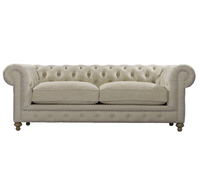 "Cigar Club 90"" Beige Linen Upholstered Chesterfield Sofa"