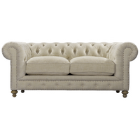"Cigar Club 77"" Tufted Linen Upholstered Chesterfield Sofa"