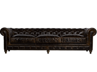 "Valencia Dark Brown 118"" Cigar Club Leather Upholstered Chesterfield Sofa"