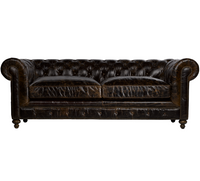 "90"" Cigar Club Leather Upholstered Chesterfield Sofa"