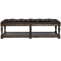 Valencia Leather Tufted Ottoman Bench