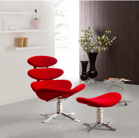 Modern Red Petal Lounge Chair With Ottoman Zin Home