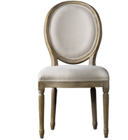 Louis Vintage Round Dining Side Chair- Linen