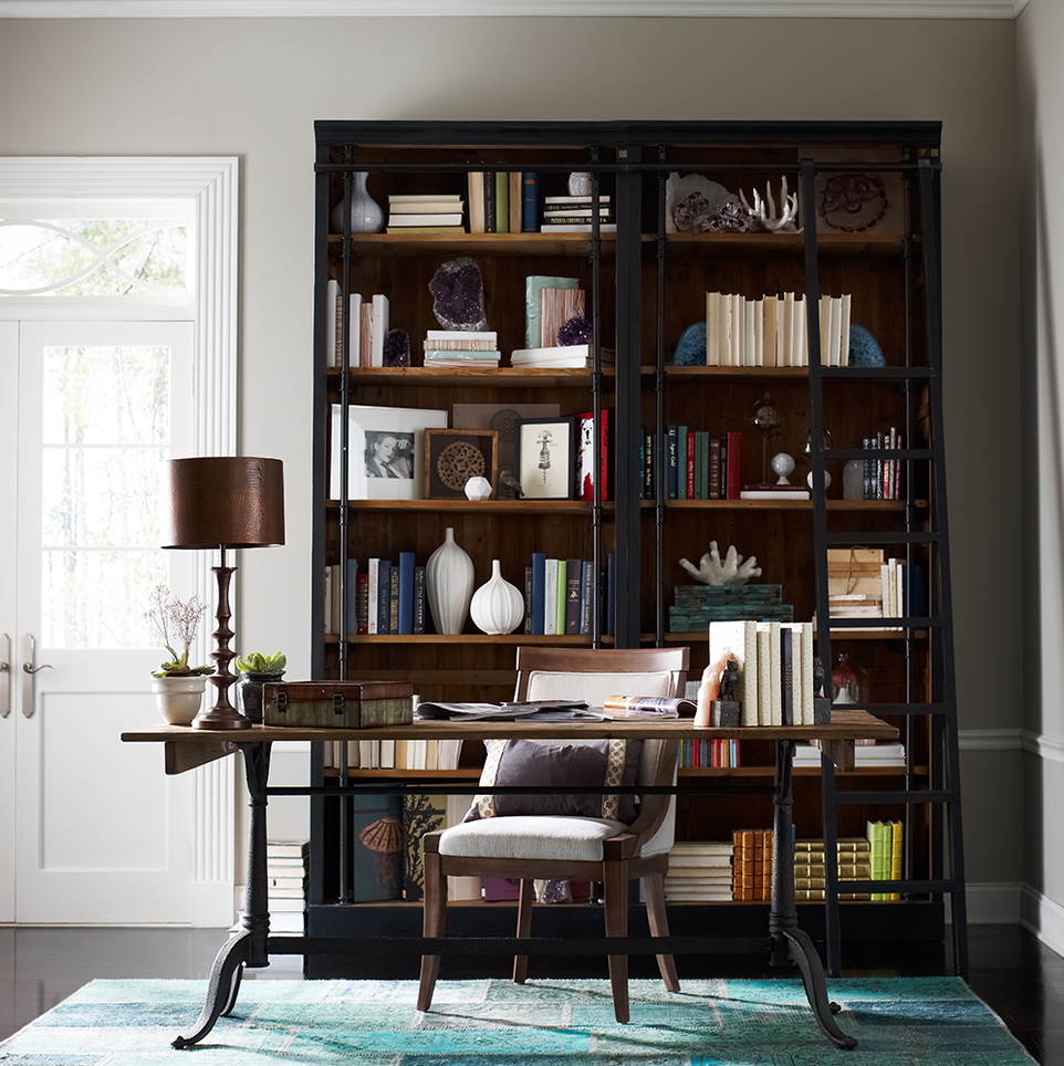French Library Bookcase with Ladder in Matte Black – Library Bookcase with Ladder
