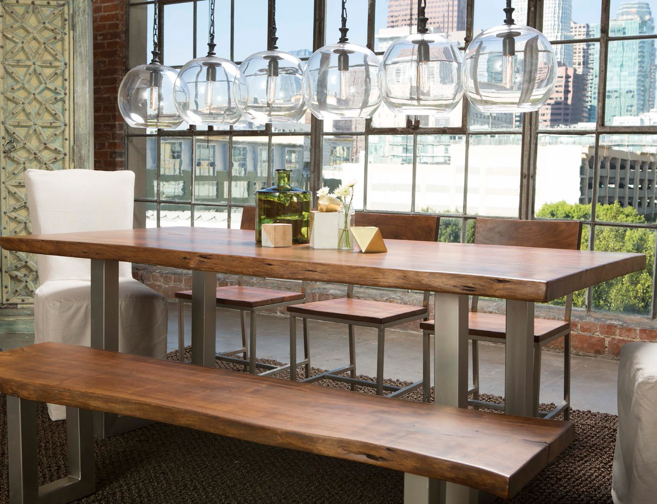 montana solid wood metal leg dining table 94 zin home. Black Bedroom Furniture Sets. Home Design Ideas
