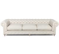 """Bespoke Finn Cigar Club Tufted Linen Upholstered Chesterfield Sofa 118"""""""