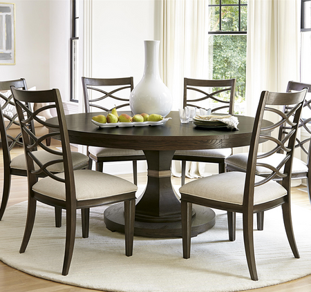 California Rustic Oak Expandable Round Dining Table 64