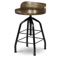 Adjustable Industrial Hickory Wood Swivel Stool
