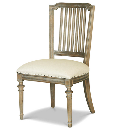French Oak Ladder Back Upholstered Louis Dining Chair