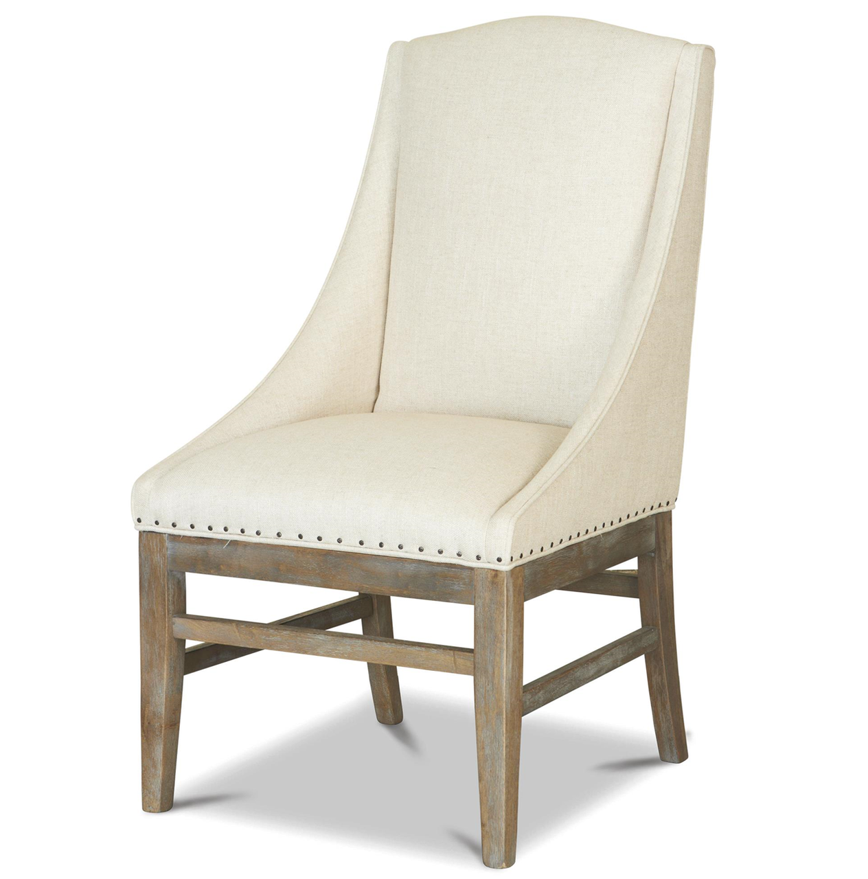 French Weathered Oak Nailhead Upholstered Dining Arm Chair ... - French Oak Nailhead Upholstered Dining Arm Chair Zin Home