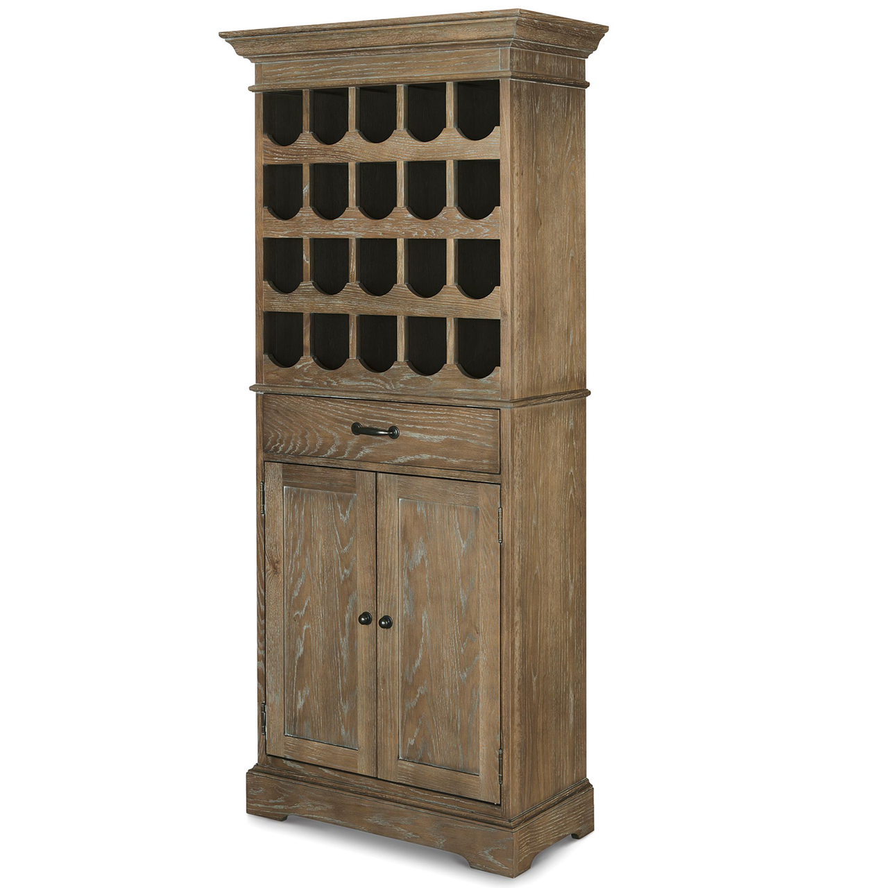 Weathered Oak Furniture French Oak Tall Wine Bar Cabinet Zin Home