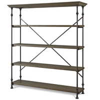 French Industrial Wood Baker's Rack Shelf