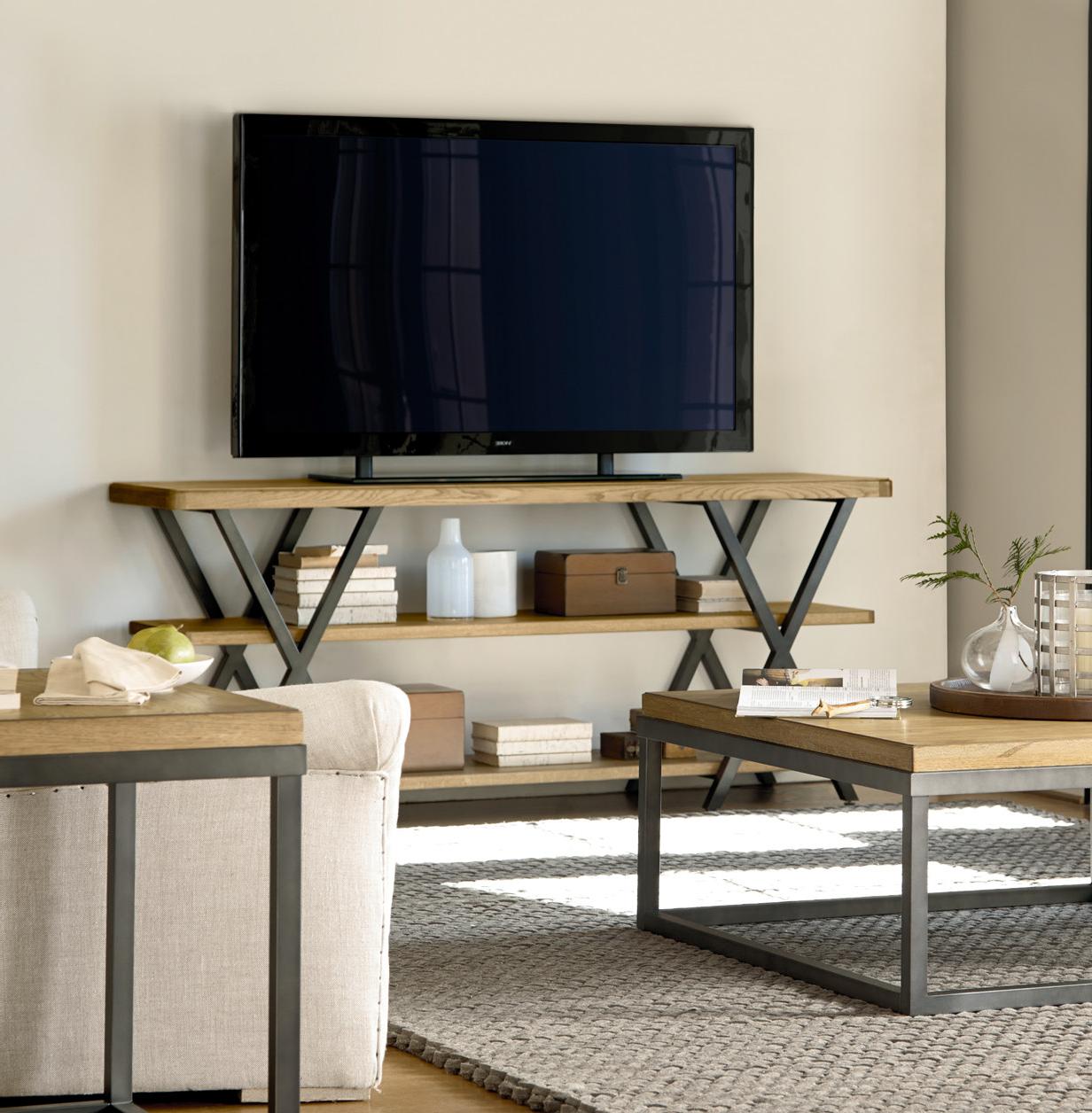 French industrial oak wood metal media console zin home