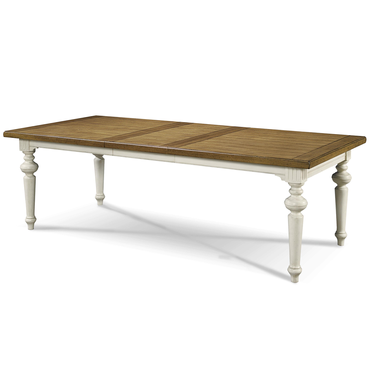 Country chic maple wood white extension dining table for Extension dining table