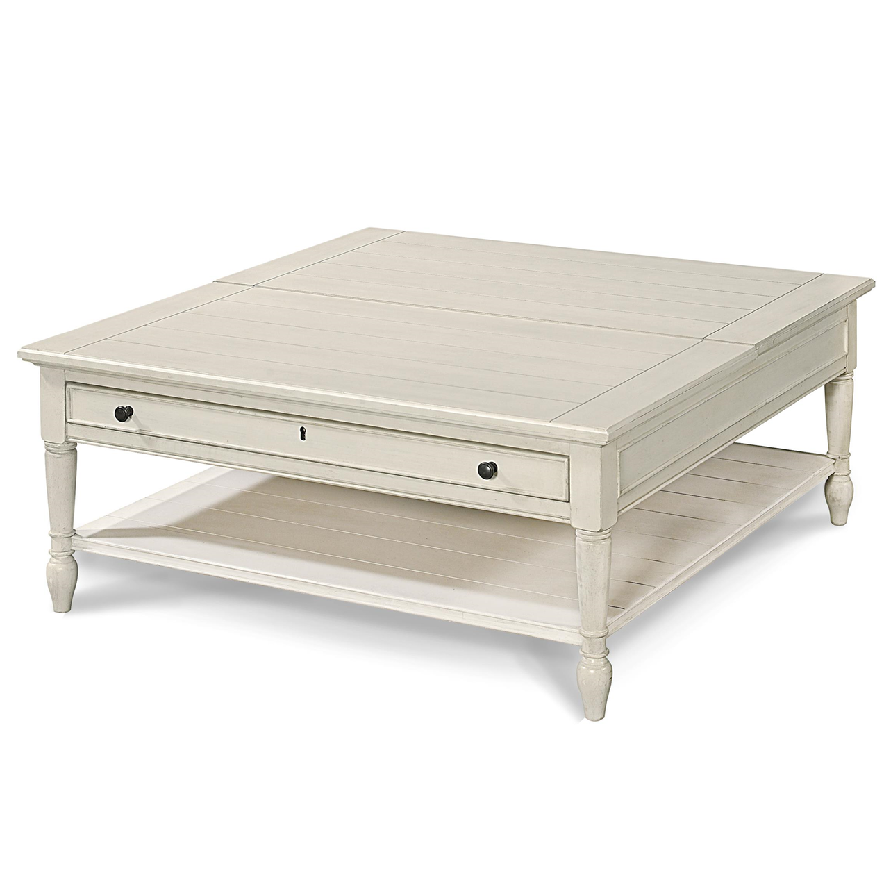 country-chic white wood square coffee table with lift top | zin home