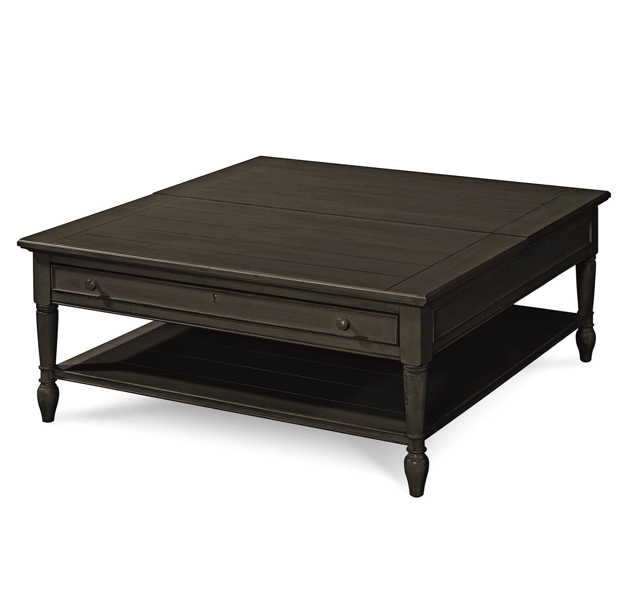 Country chic black wood square coffee table with lift top zin home Black wooden coffee tables