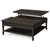 Country-Chic Black Wood Square Coffee Table with Lift Top