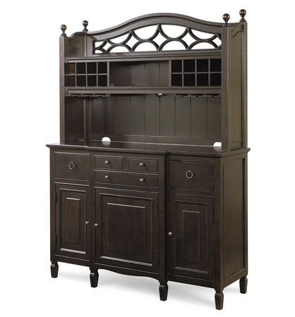 Country Chic Maple Wood Black Kitchen Buffet With Bar