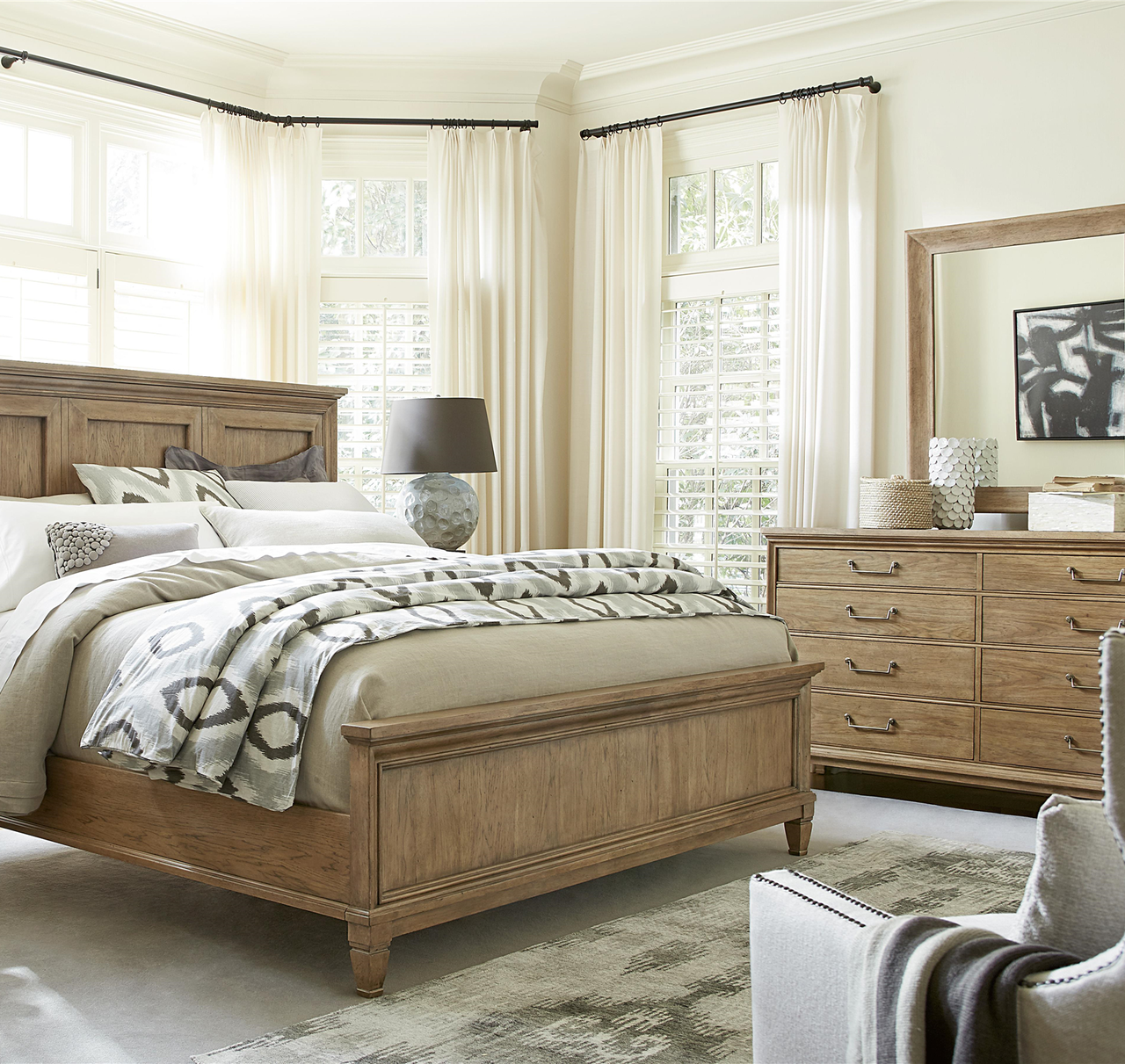 French Modern Hickory Wood  Drawer Double Dresser Zin Home -  hickory bedroom furniture