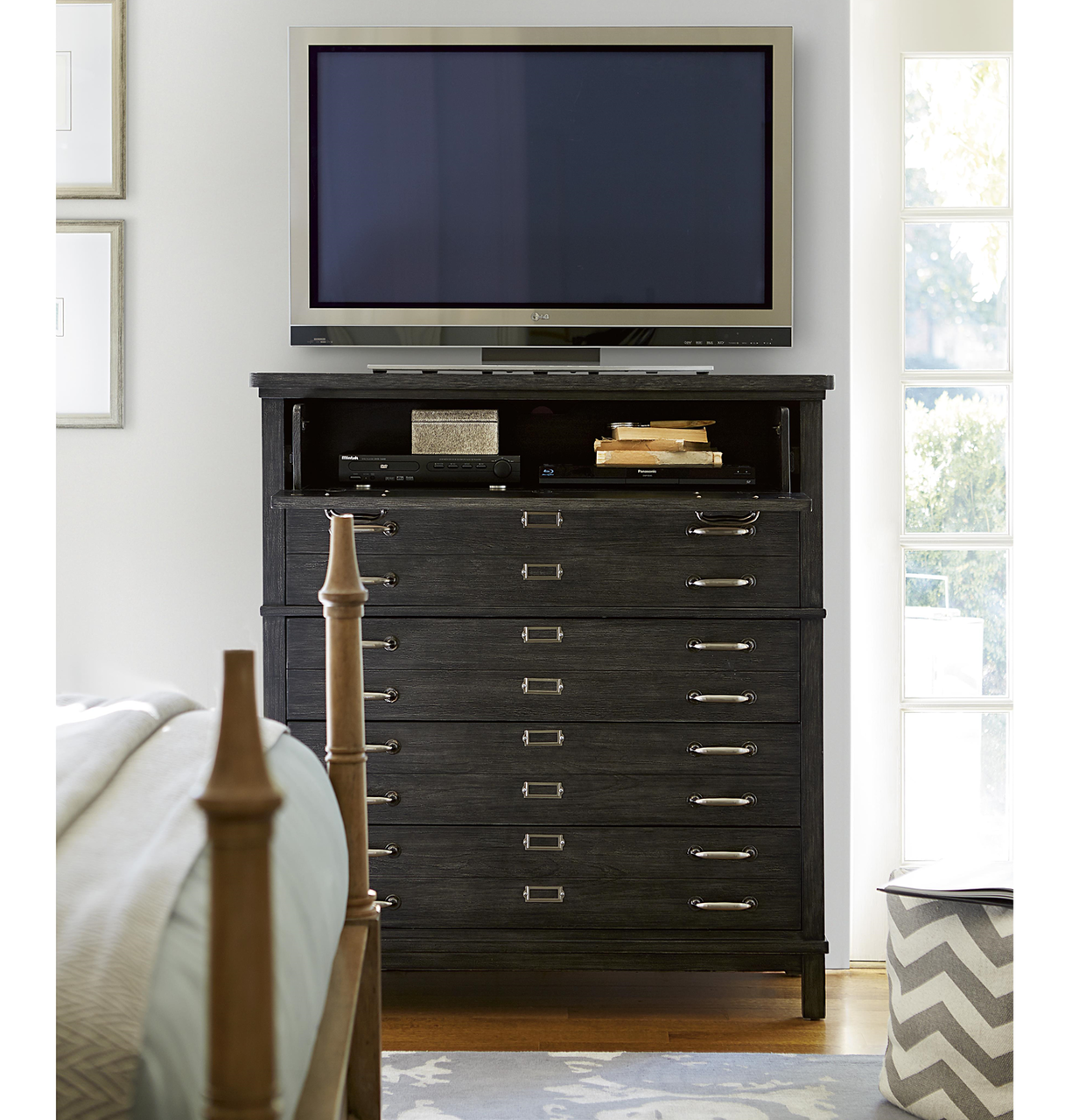 French Modern Dark Wood  Drawers Bedroom Media Chest Zin Home - Media dresser for bedroom