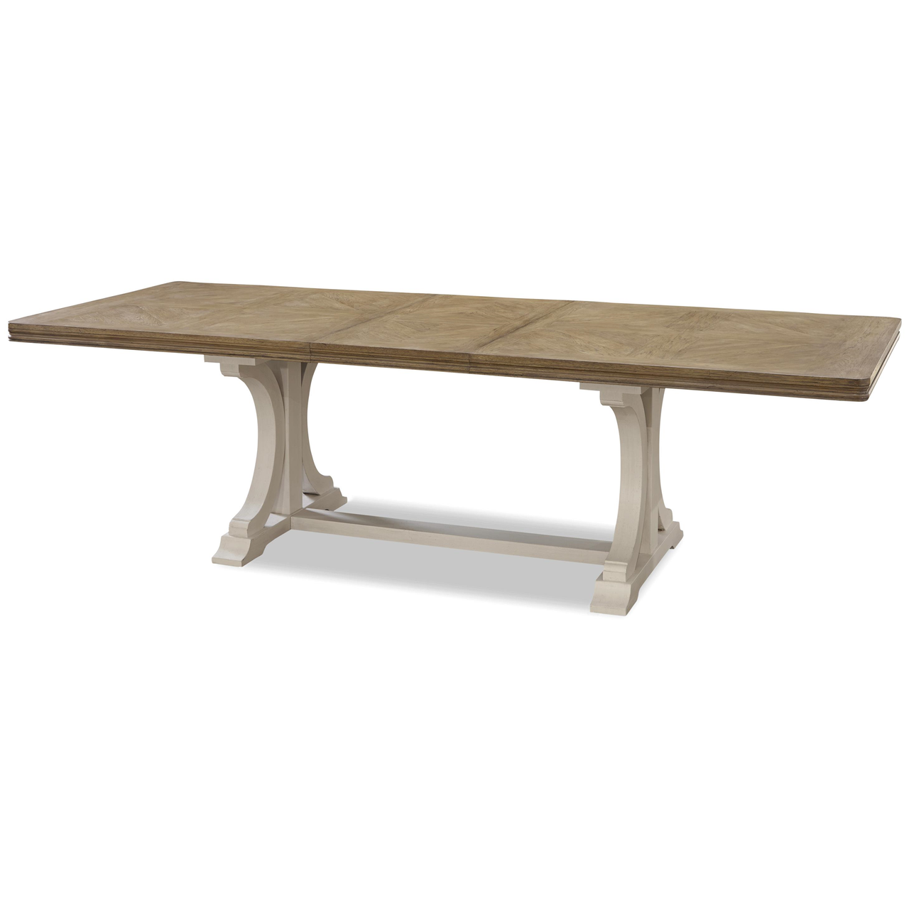 French modern light wood trestle extension dining table for Dining room tables light wood