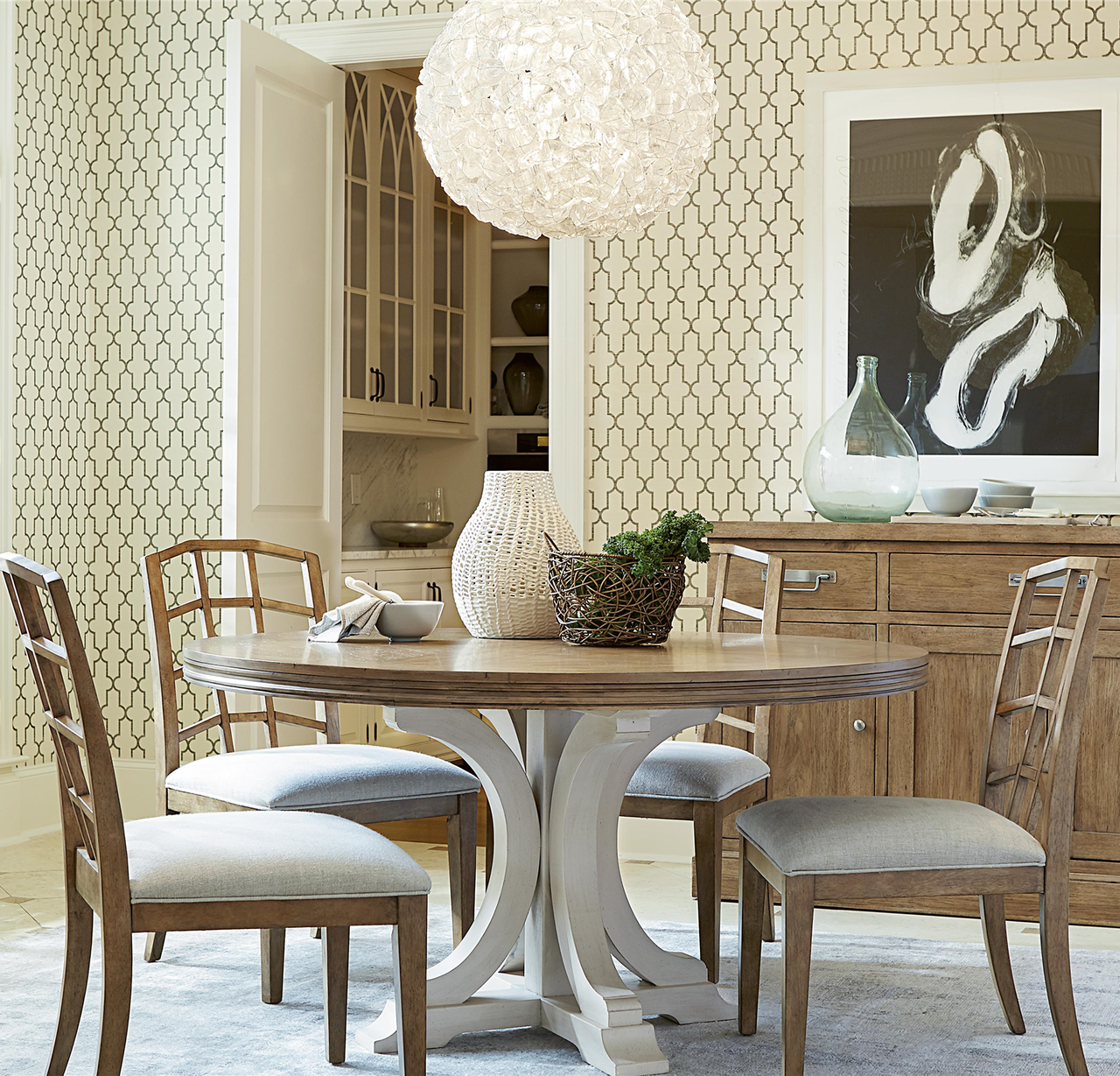 Circular Dining Room: French Modern White Wood Pedestal Round Dining Table 58