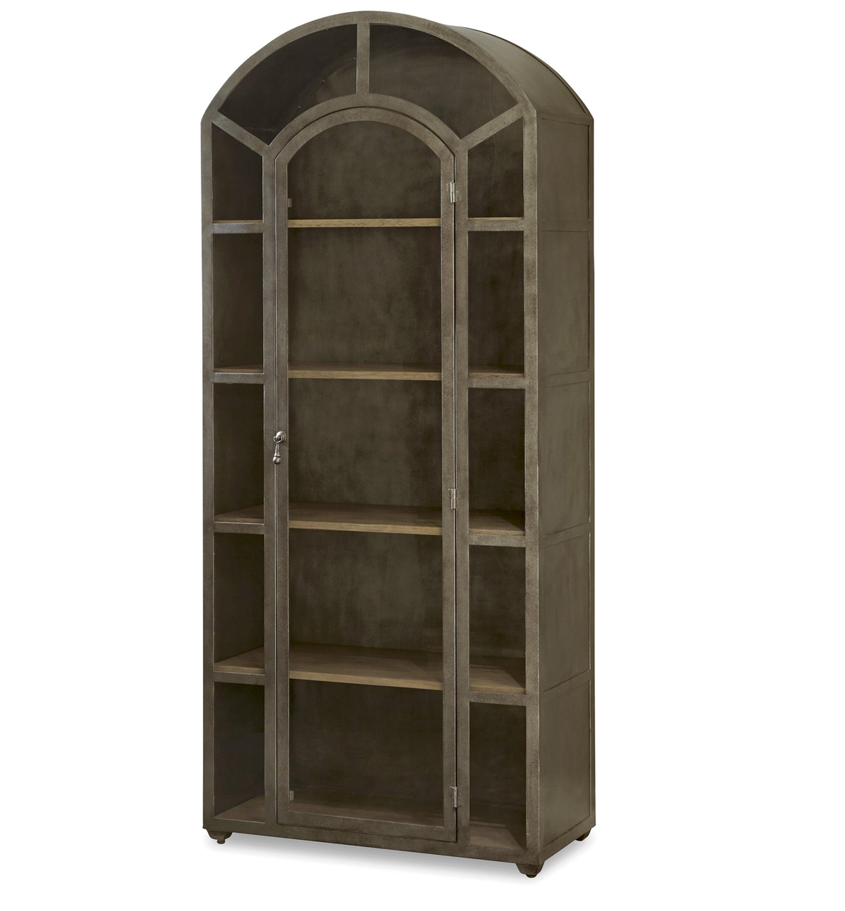 French Modern Industrial Metal and Glass Curio Cabinet  Zin Home