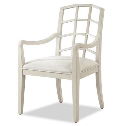French Modern Slip Upholstered White Dining Arm Chair