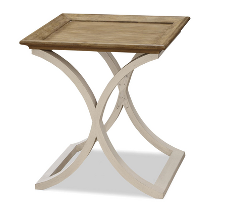 French Modern Light Wood Tray Top End Table