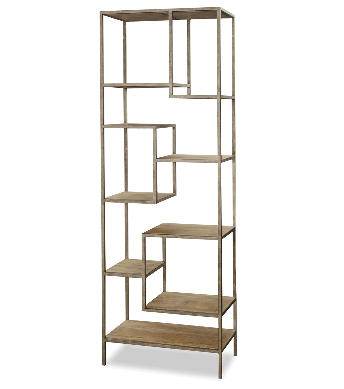french modern industrial wood  metal bookcase etagere  zin home - french modern industrial wood  metal bookcase etagere